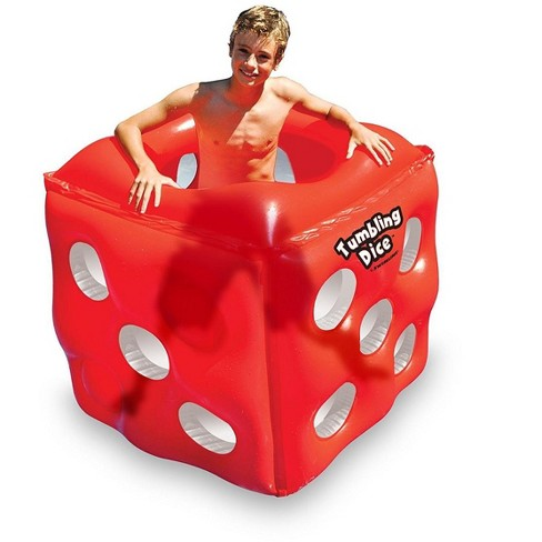"Swimline 49"" Water Sports Inflatable Tumbling Dice 1-Person Swimming Pool Cube Roller - Red/White - image 1 of 1"