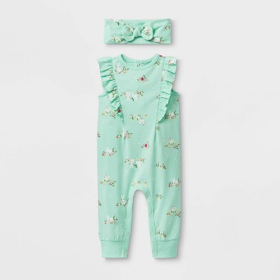 Baby Ruffle Shoulder Romper with Headband - Cat & Jack™ Green 6-9M