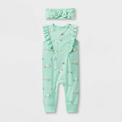 Baby Girls' Ruffle Shoulder Romper with Headband - Cat & Jack™ Green