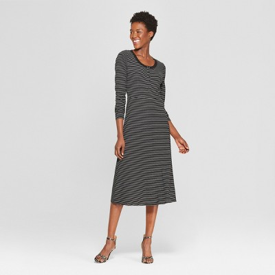 684184b66065 Womens Striped Long Sleeve Scoop Neck Button-Down Rib Midi Dress - Who What  Wear