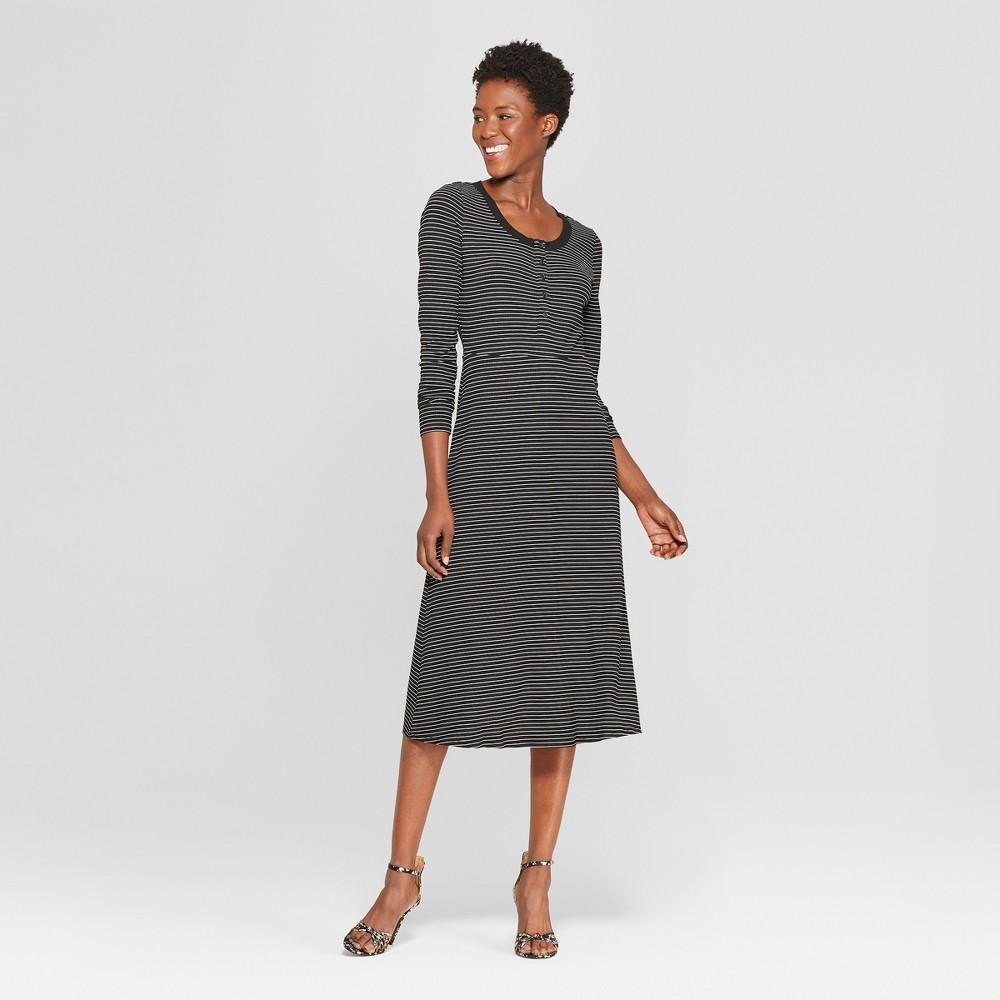 Women's Striped Long Sleeve Scoop Neck Button-Down Rib Midi Dress - Who What Wear Black/White S, Black/White Stripe