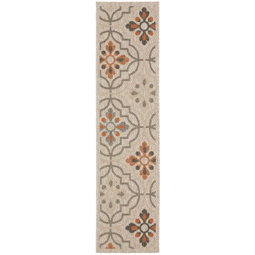 Landry Floral Lattice Patio Rug Gray/Orange