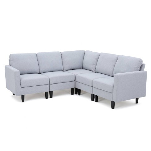 5pc Zahra Sectional Couch Light Gray Christopher Knight Home Target