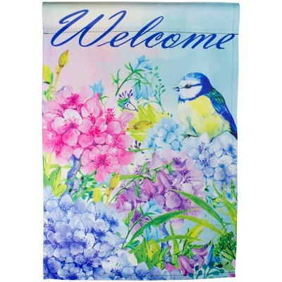 "Northlight Blue and Purple Welcome Bird Outdoor Garden Flag 12.5"" x 18"""