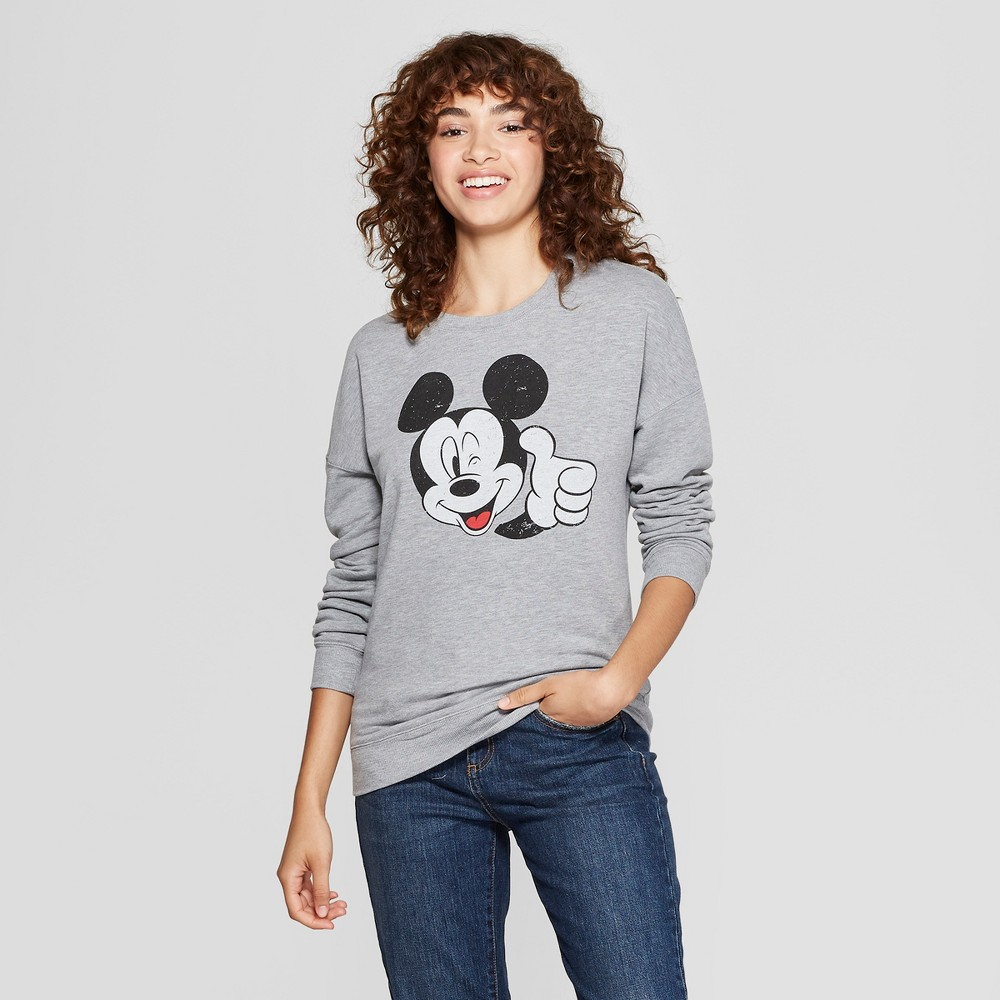 Women's Disney Mickey Mouse Graphic Pullover Sweatshirt (Juniors') Gray XS