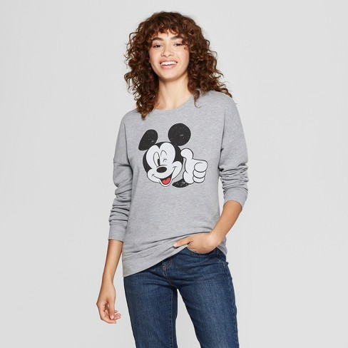 Women's Disney Mickey Mouse Graphic Pullover Sweatshirt (Juniors') Gray - image 1 of 2