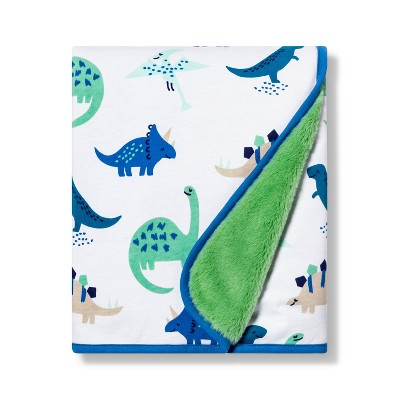 Jersey Knit Faux Fur Blanket Dinos - Cloud Island™ Blue/Green