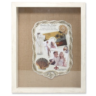 "11""x14"" Burlap Display Board Front Hinged Shadow Box Frame Ivory - Lawrence Frames"