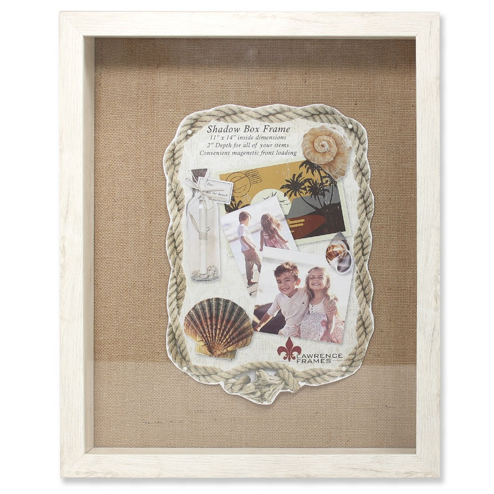 "Image of ""11""""x14"""" Burlap Display Board Front Hinged Shadow Box Frame Ivory - Lawrence Frames"""