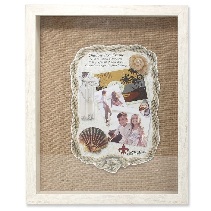 """11""""x14"""" Burlap Display Board Front Hinged Shadow Box Frame Ivory - Lawrence Frames - image 1 of 1"""