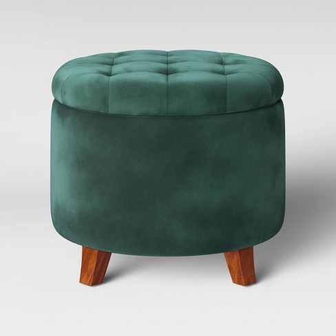 Magnificent Tufted Round Storage Ottoman Velvet Green Threshold Ocoug Best Dining Table And Chair Ideas Images Ocougorg