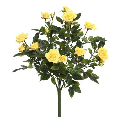 "Artificial Mini Diamond Rosa Bush (15"") Yellow - Vickerman"