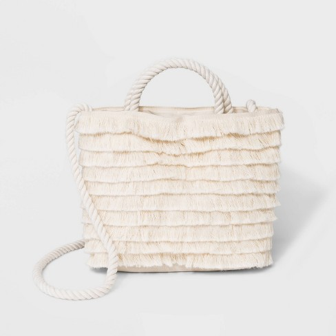 Fringe Crossbody Bag - Who What Wear™ Natural - image 1 of 4