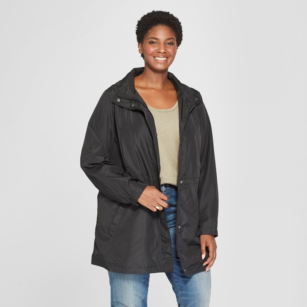 Women's Plus Size Anorak Rain Coat - Ava & Viv Black X