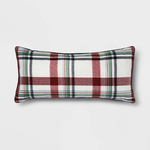 Oblong Flannel Plaid Throw Pillow Cream/Red - Threshold™ - image 1 of 4