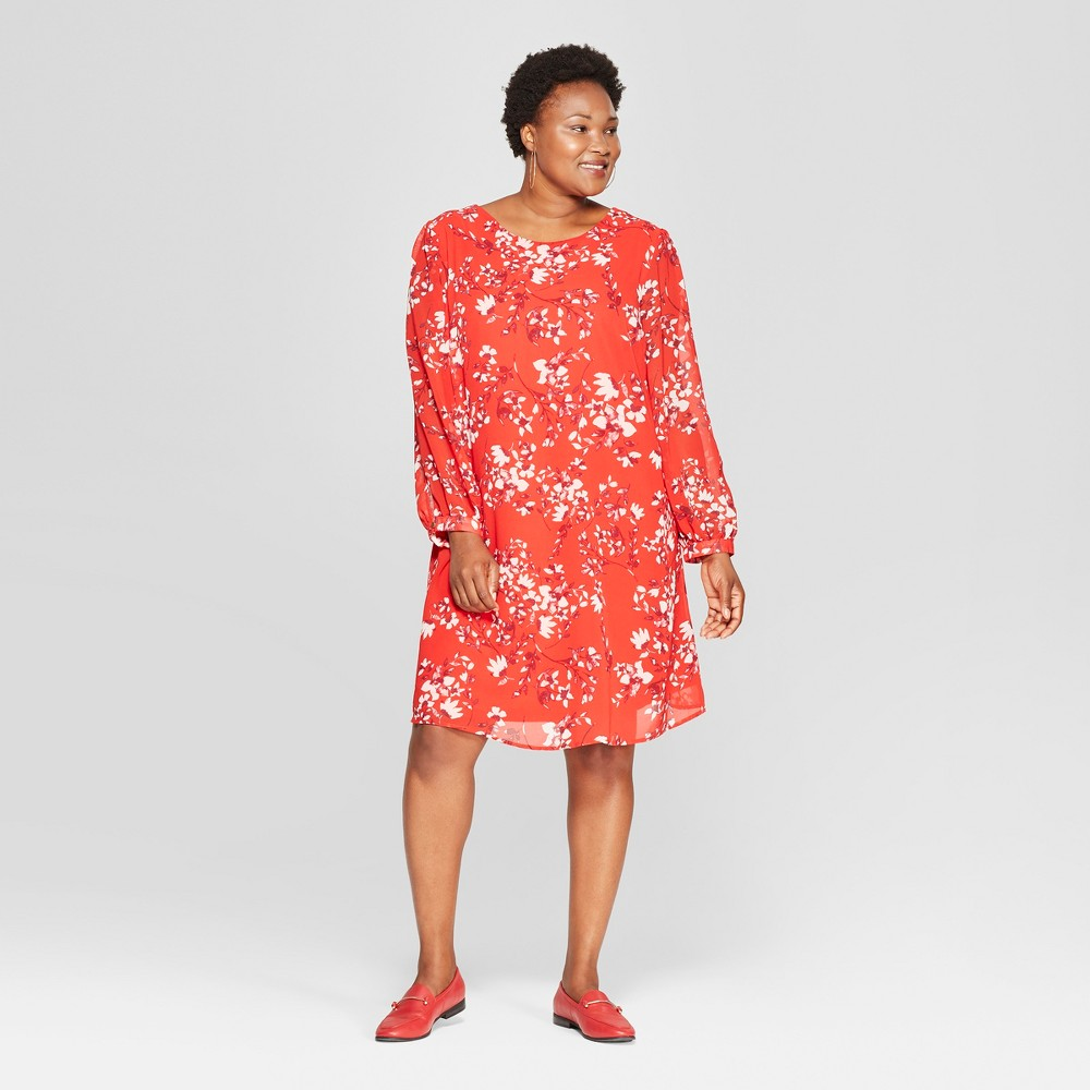 Women's Plus Size Floral Print Tie Back Dress - Ava & Viv Red 1X