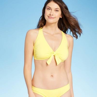 Women's Tie-Front Over the Shoulder Strap Bikini Top - Kona Sol™ Light Yellow