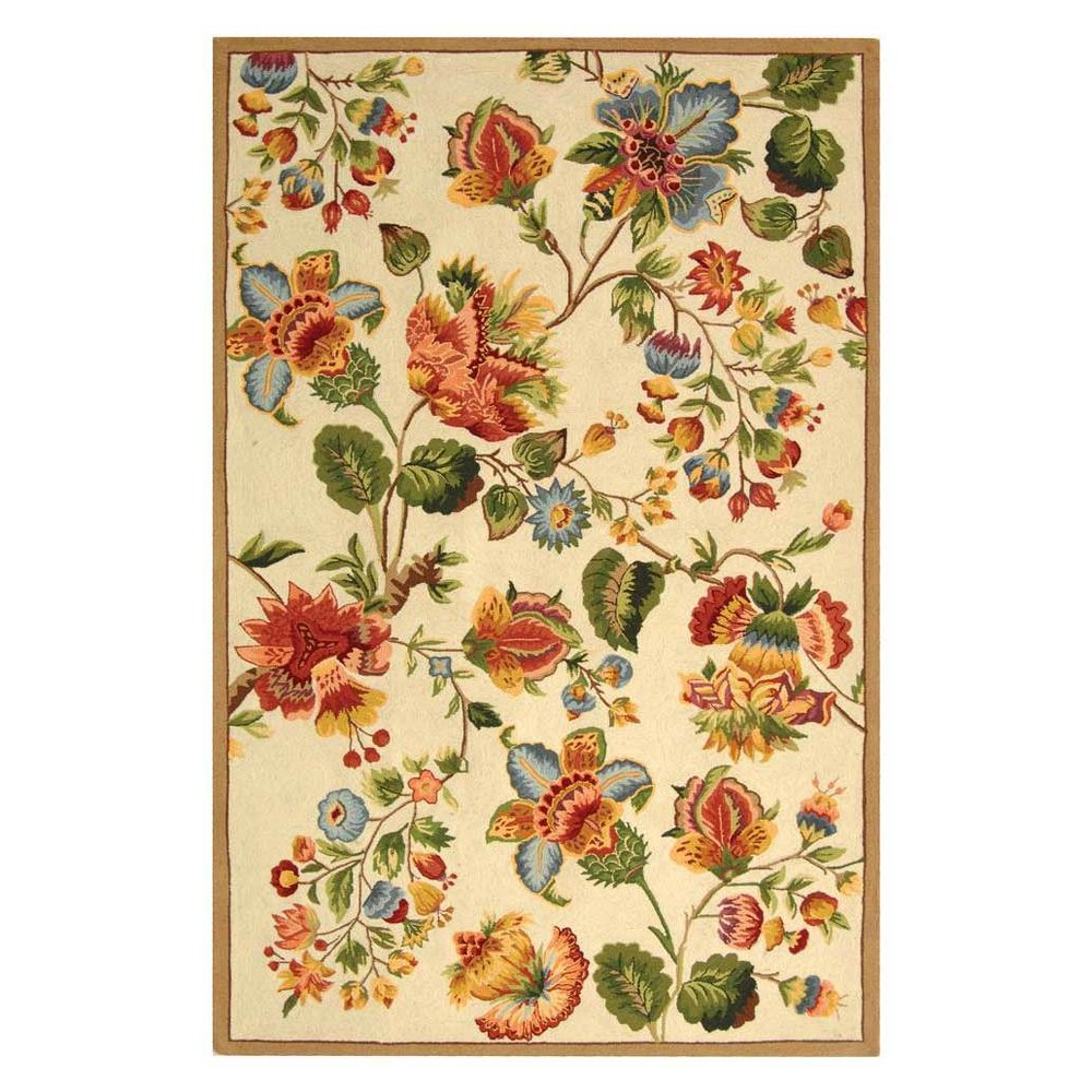 Ivory Floral Hooked Area Rug 6'X9' - Safavieh
