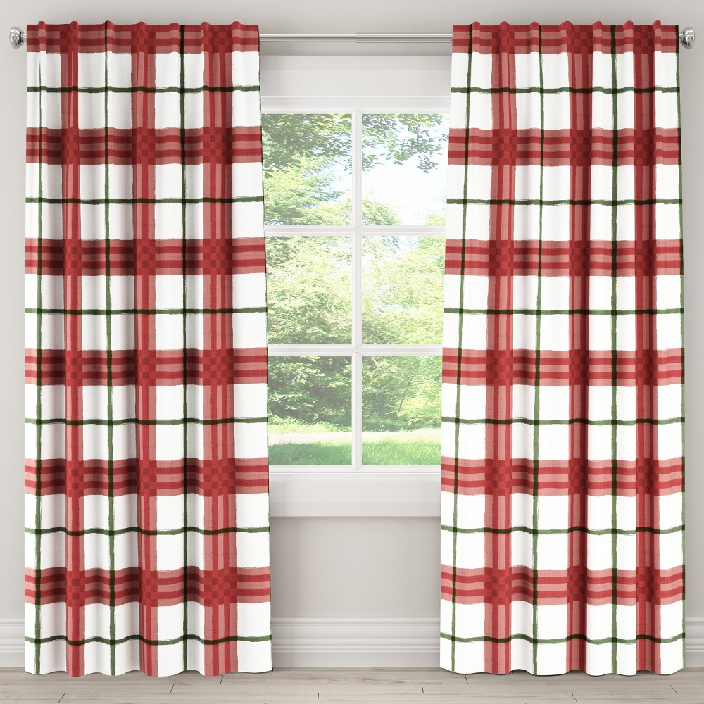 Blackout Curtain Brush Plaid Holiday 63L - Skyline Furniture, Red