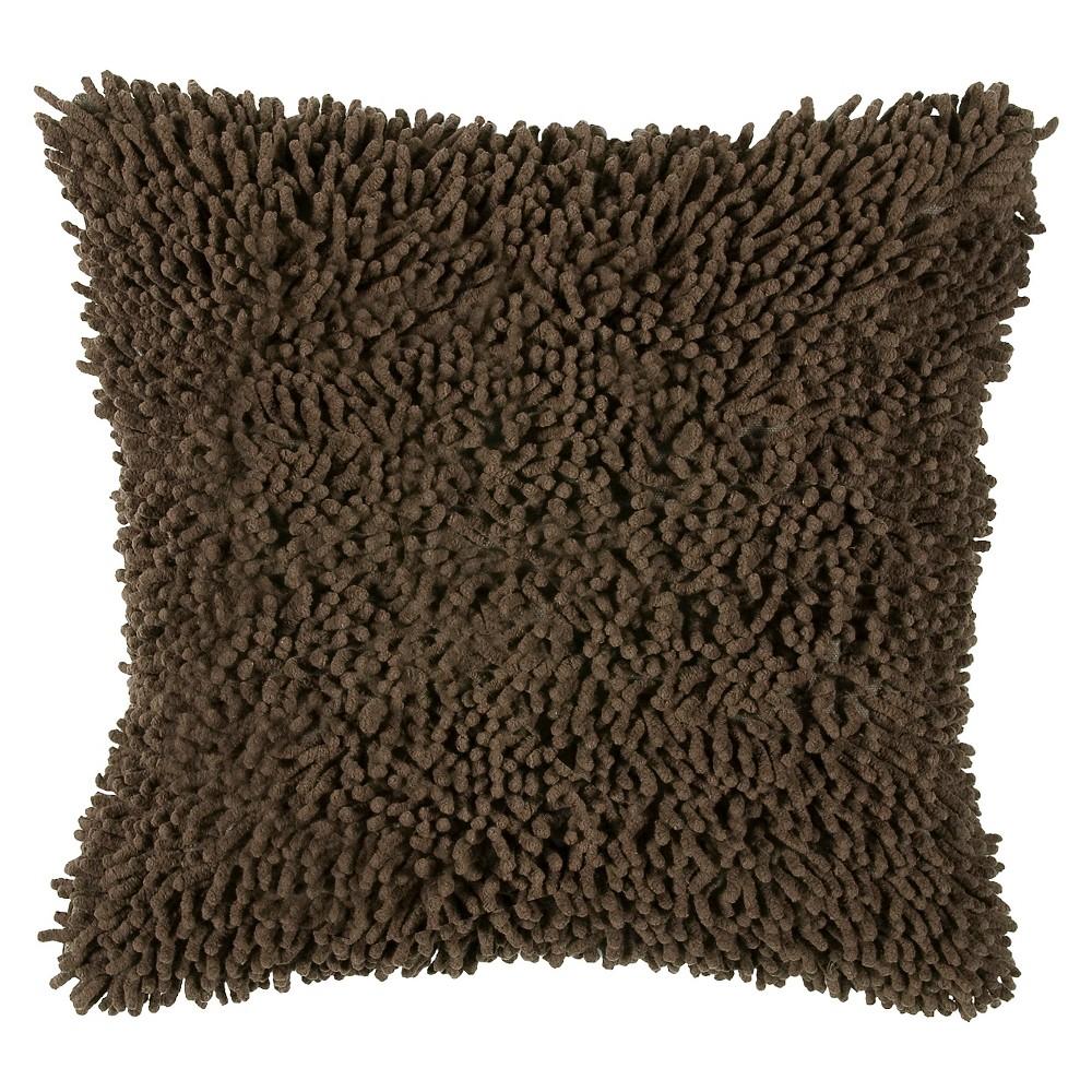 Brown Shag Throw Pillow 18
