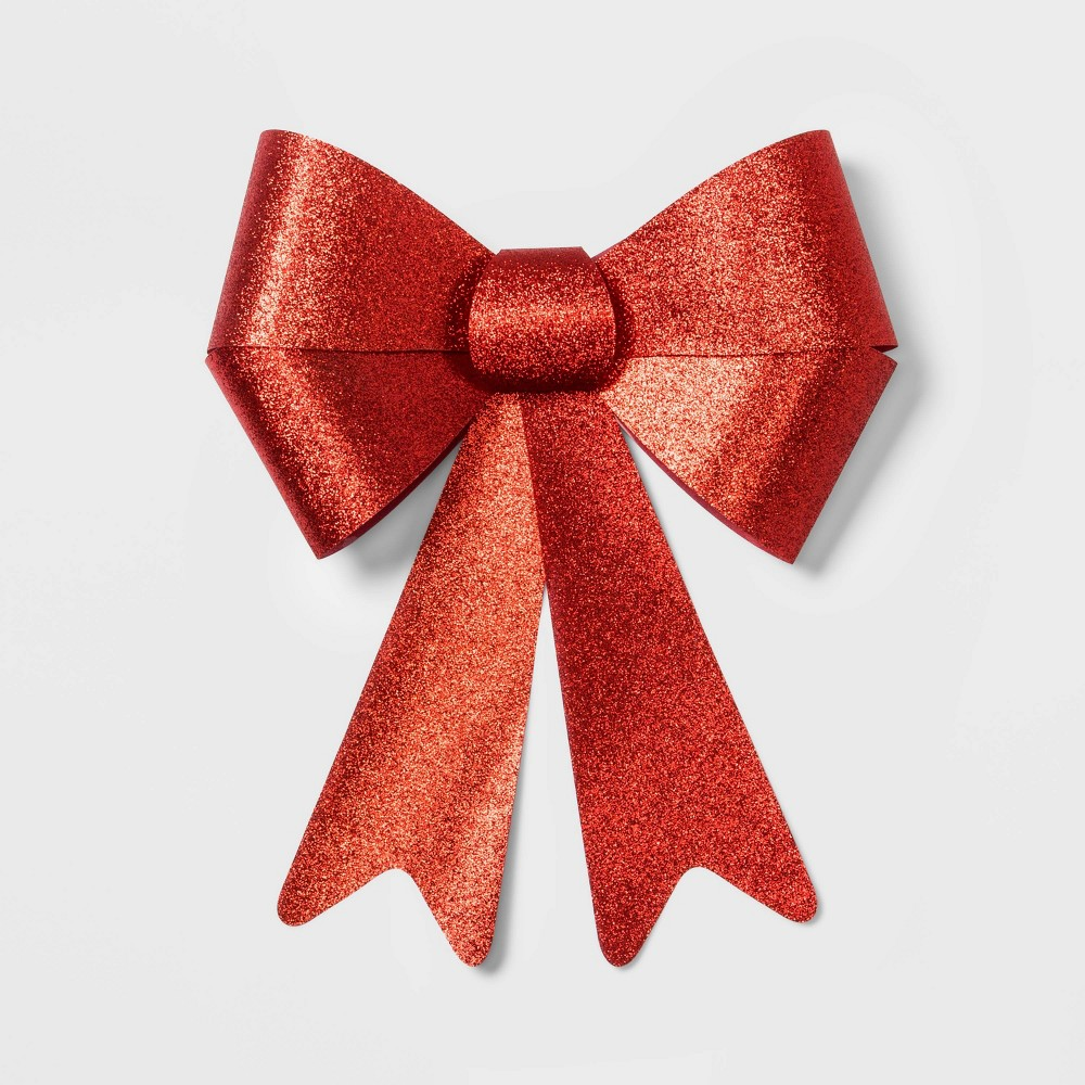 "Image of ""14"""" x 18.5"""" Glitter Christmas Bow Red - Wondershop"""