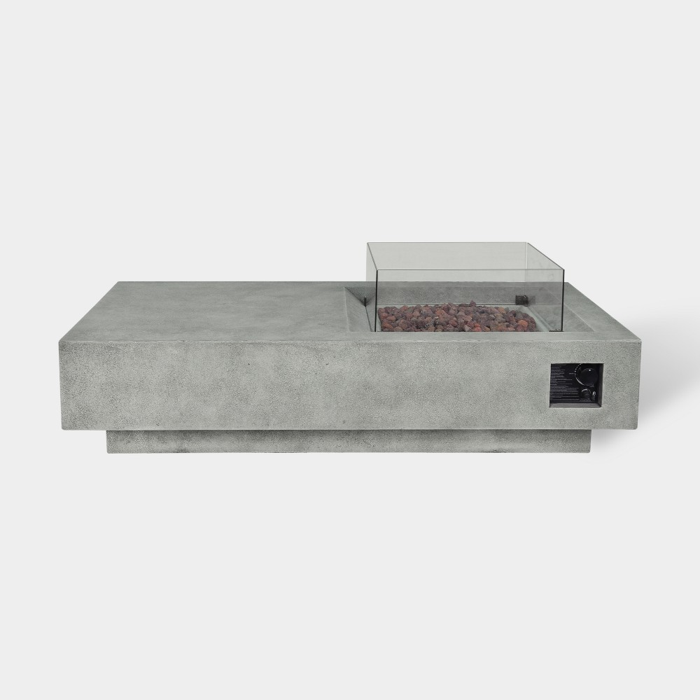 Argent 60 Rectangle Cement Fire Table - Gray - Bond