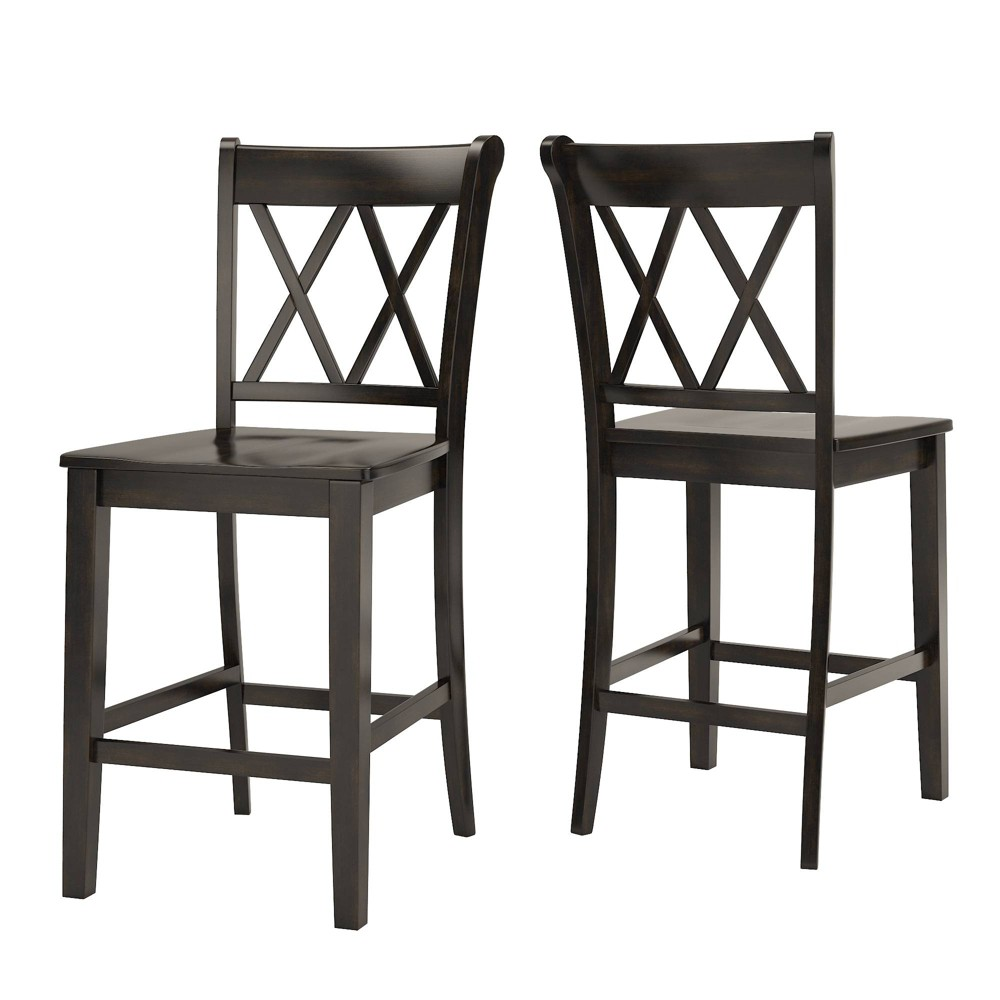Set of 2 Fornn Wood Counter Chair X - Style Back Black - Inspire Q