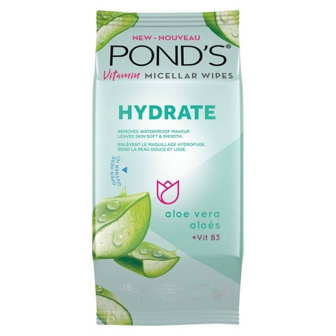 Pond's Vitamin Micellar Hydrate Facial Wipes - Vit B3 - Aloe Vera - 25ct - image 1 of 4