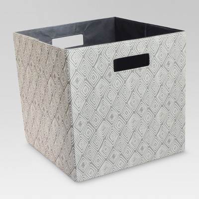 Fabric Cube Storage Bin Gray Diamonds 13  - Threshold™