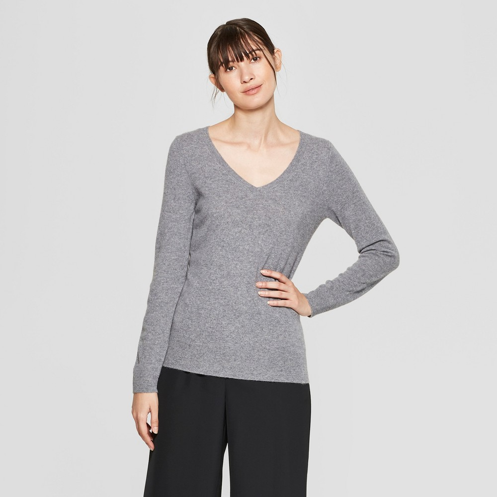 Women's Long Sleeve V-Neck Cashmere Pullover Sweater - Prologue Gray XS