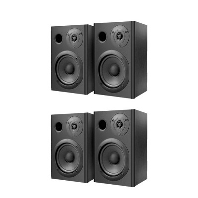 Pyle PBKSP52 Bluetooth 400W Book Shelf Home Stereo Speaker System Pair with 1 In Dome Tweeter Drivers and Engineered Wood Exterior (4 Speakers)