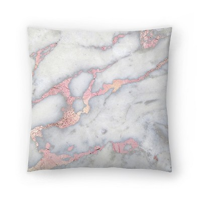 Americanflat Rose Gold Blush Metal Foil On Marble Square by Grab My Art Throw Pillow