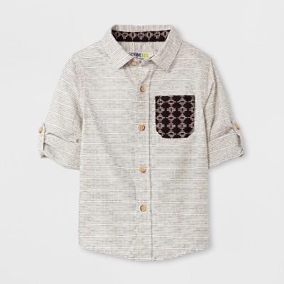 Toddler Boys' Genuine Kids™ from OshKosh® Long Sleeve Button-Down Shirt - Cream/Black 12 M