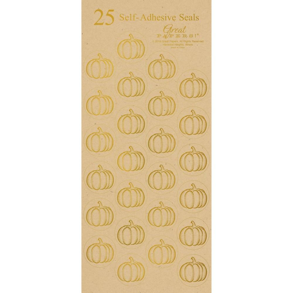 Image of 25ct Fall Pumpkins Kraft Seals
