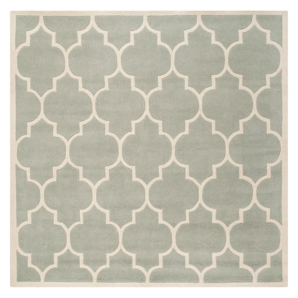 5'X5' Quatrefoil Design Tufted Square Area Rug Gray/Ivory - Safavieh