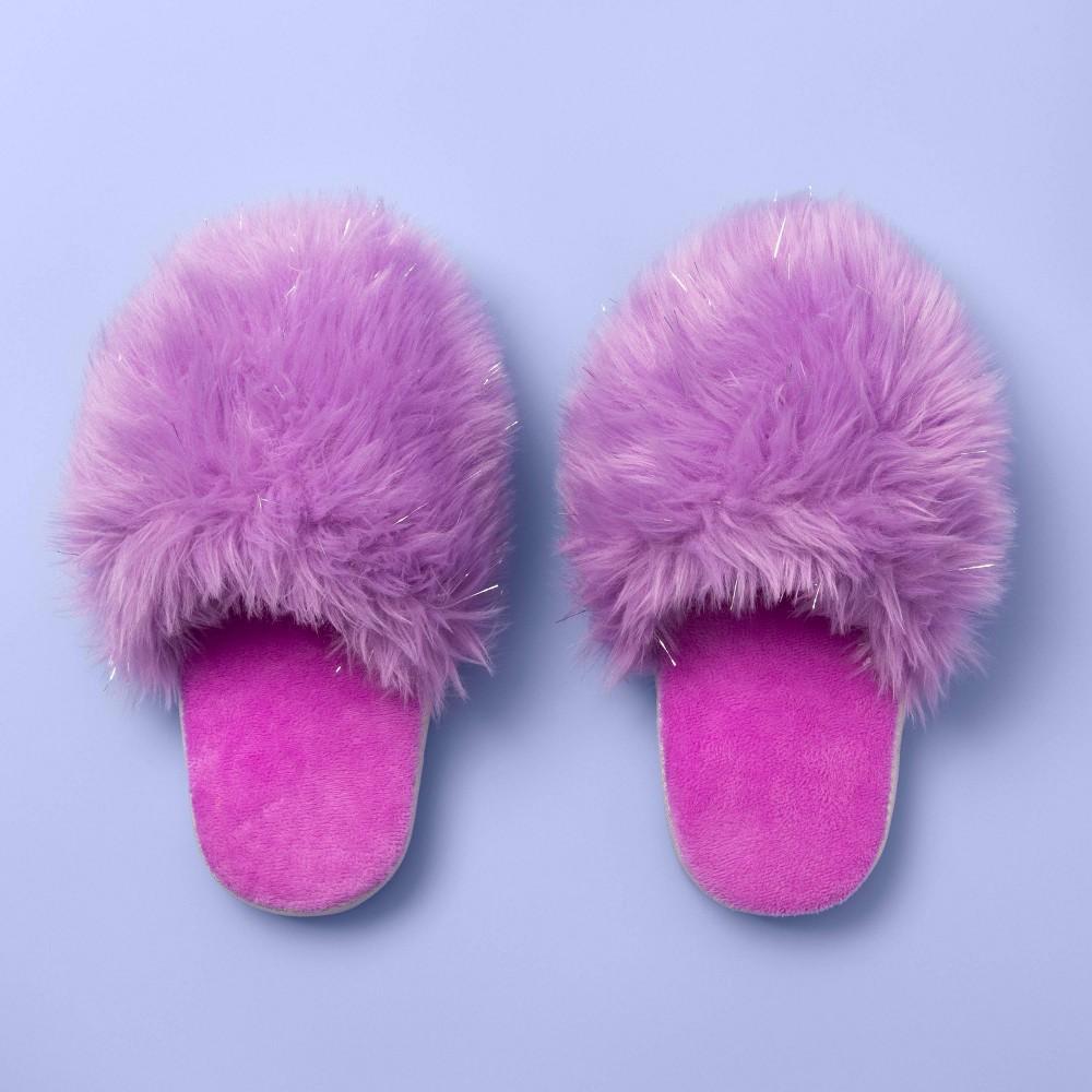 Image of Girls' Furry Slide Slippers - More Than Magic Purple M, Girl's, Size: Medium
