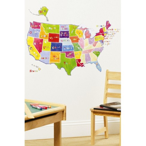Wallies® Wall Play US State Map Peel & Stick décor - image 1 of 2