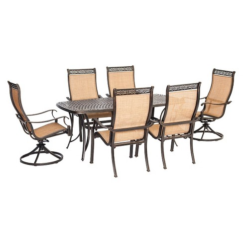 Hanover Manor 7 Piece Outdoor Dining Set With Two Swivel Rockers