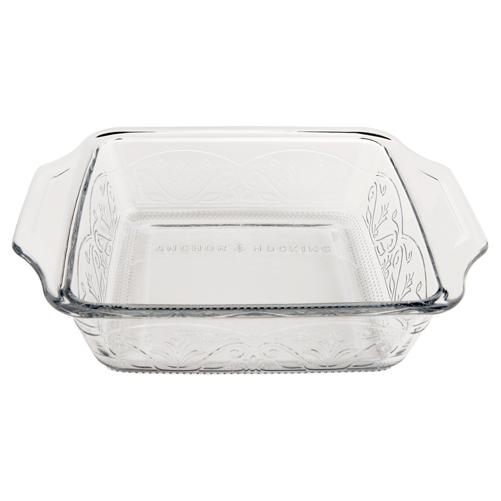 Anchor Hocking Laurel 8 Cake Dish Clear, Medium Clear Bake and serve beautifully with the Anchor Hocking Laurel Embossed 8 x8  Square Baking Dish. This durable bake dish is Made IN THE USA and free of harmful chemicals. Anchor Hocking glass bakeware is dishwasher safe, microwave safe, freezer safe and oven safe up to 425°F but should not be used on the stovetop, broiler, or toaster oven. Bring beauty back to the table with the Anchor Hocking Laurel Embossed bakeware collection! Color: Medium Clear.