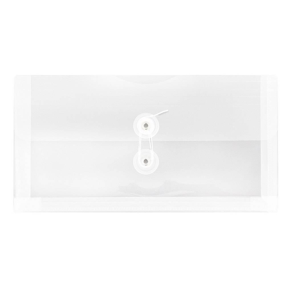 Jam Paper 5 1/4'' x 10'' 12pk Plastic Envelopes with Button and String Tie Closure - Clear Jam Paper 5 1/4'' x 10'' 12pk Plastic Envelopes with Button and String Tie Closure - Clear
