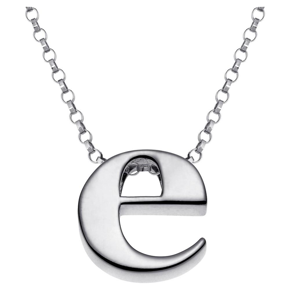 Women's Sterling Silver 'e' Initial Charm Pendant - Silver, E