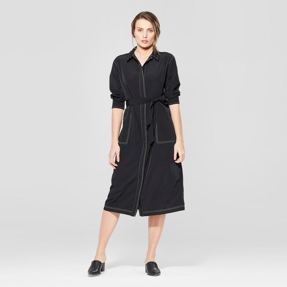 Women's Long Sleeve Collared Topstitching Midi Dress - Prologue Black L