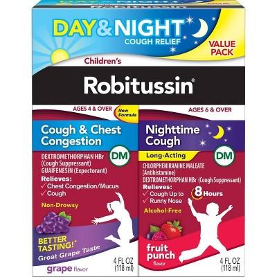 Children's Robitussin Day/Night Cough & Chest Congestion DM - Dextromethorphan - Grape & Fruit Punch Flavors - 4 fl oz/2pk