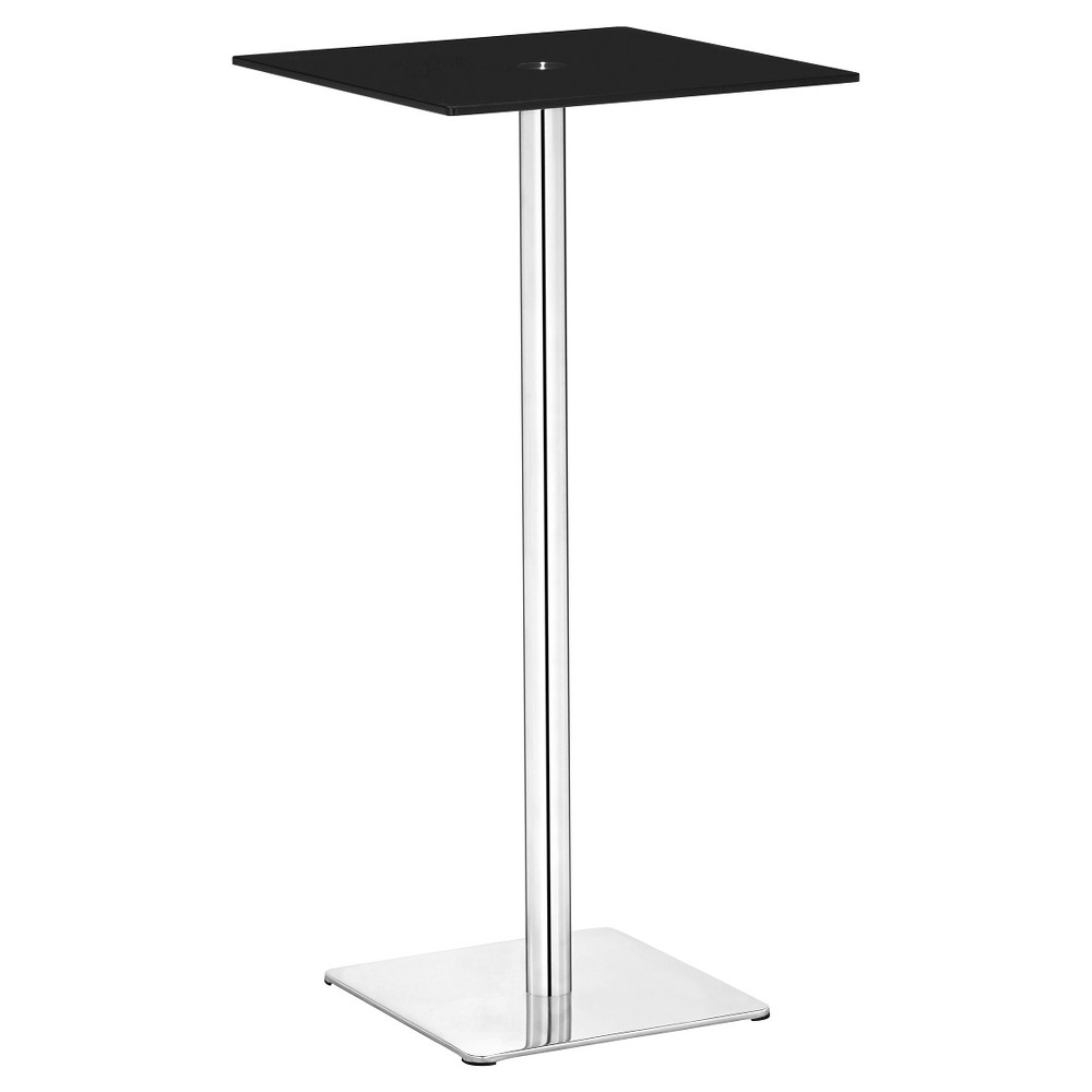 Elegant 41 Painted Tempered Glass and Brushed Stainless Steel Square Pub Table - ZM Home, Black