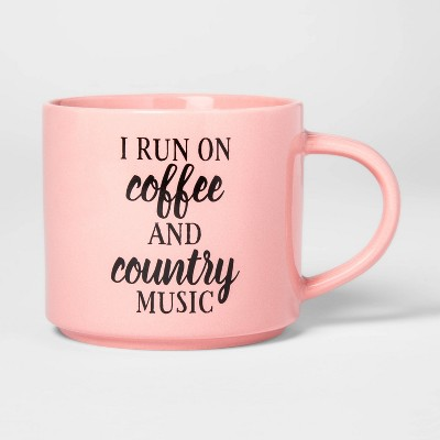 16oz Stoneware Texas I Run on Coffee and Country Music Mug Pink - Threshold™