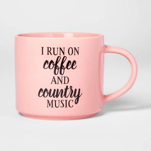16oz Porcelain Texas I Run on Coffee and Country Music Mug Pink - Threshold™ - image 1 of 1