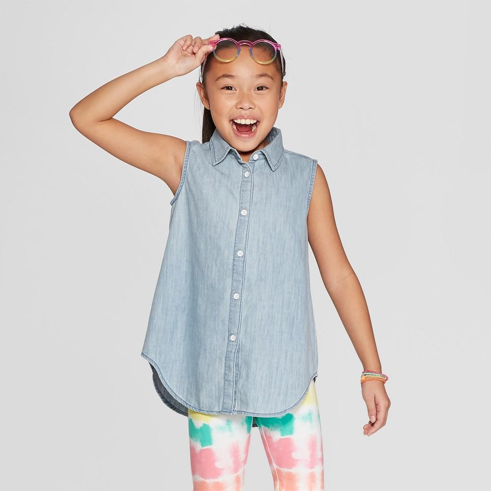 Girls' Button-Down - Cat & Jack Light Wash Denim XL, Blue