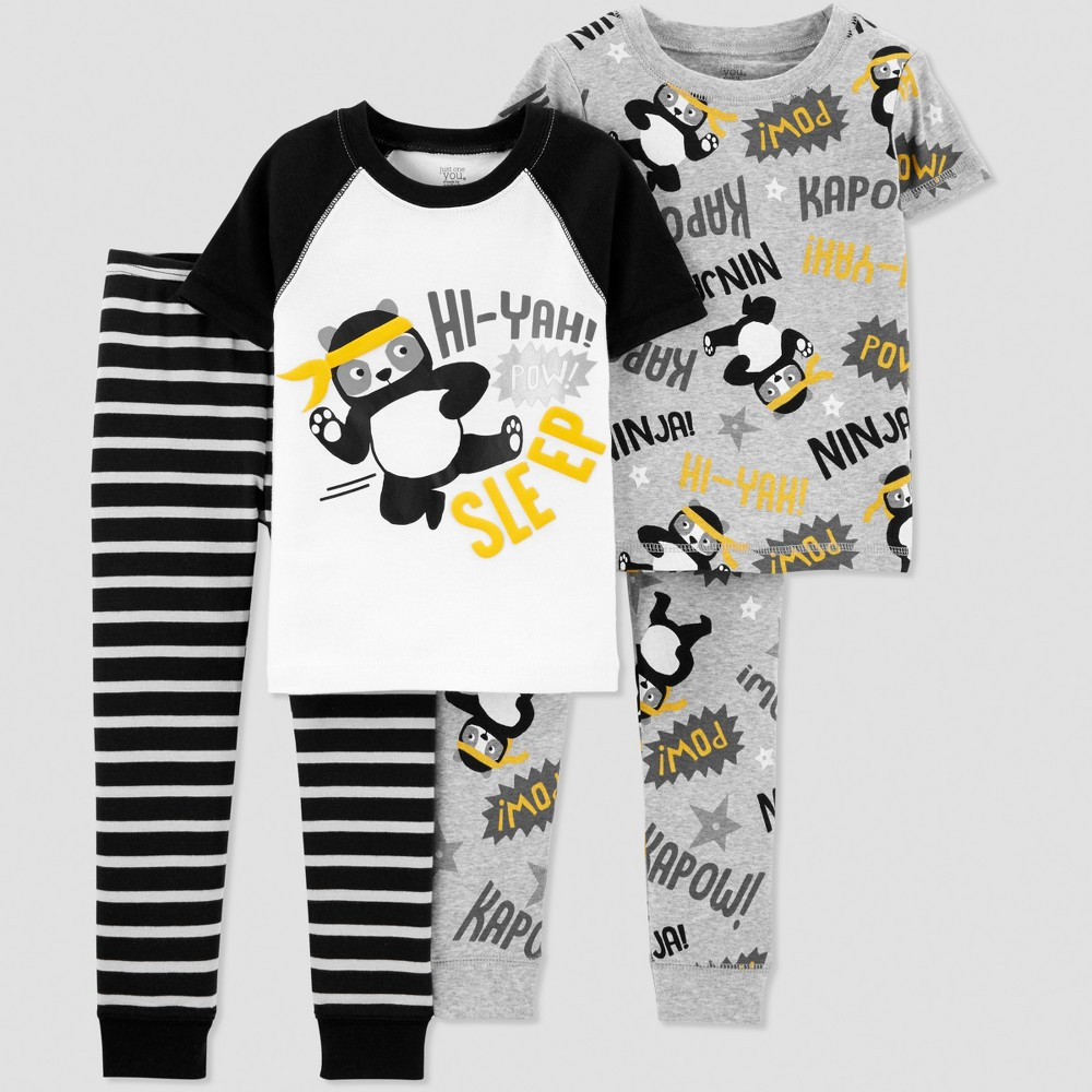 Toddler Boys' 4pc Panda Pajama Set - Just One You made by carter's Black 5T
