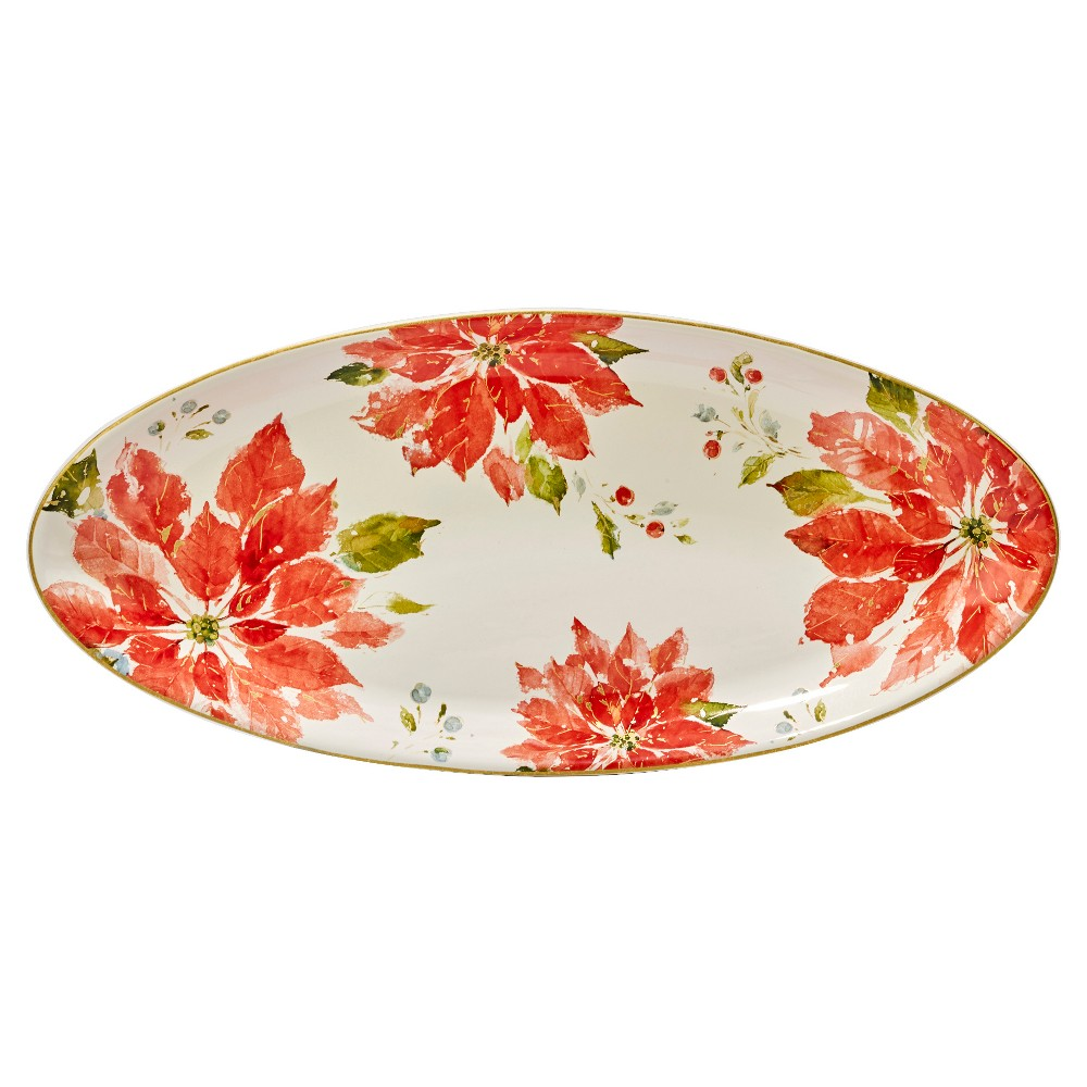 Certified International Home For The Holidays Oval Ceramic Serving Platter 19.5