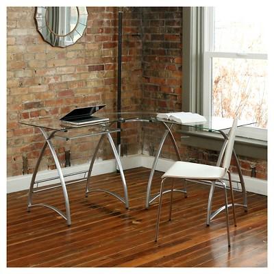 L Shaped Glass And Metal Corner Computer Desk Silver - Saracina Home : Target